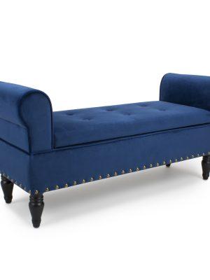 Downtown Blue Brushed Velvet Ottoman Chaise