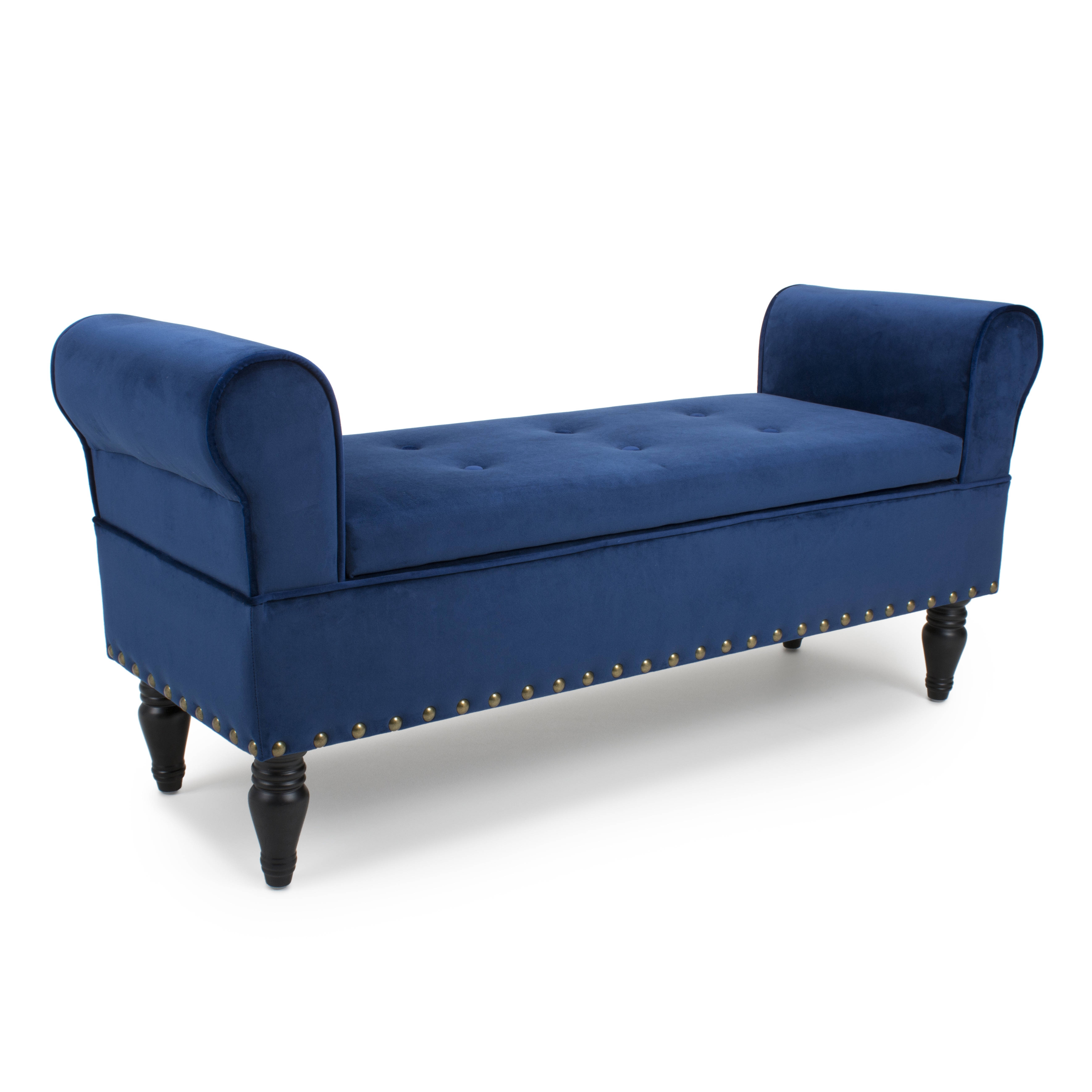 - Downtown Blue Ottoman Storage Window Seat Chaise Lounge Brushed