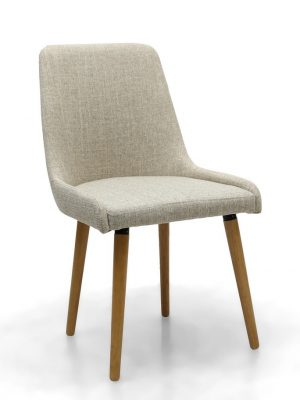 Capri Natural Linen Fabric Modern Dining Chair
