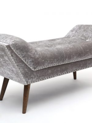 Mulberry Silver Crushed Velvet Medium Chaise Longue