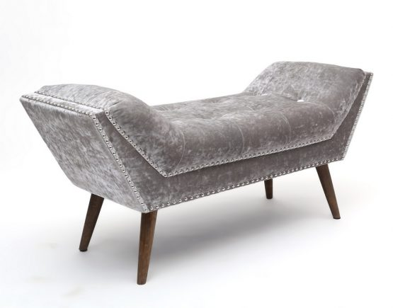 mulberry crushed silver velvet chaise