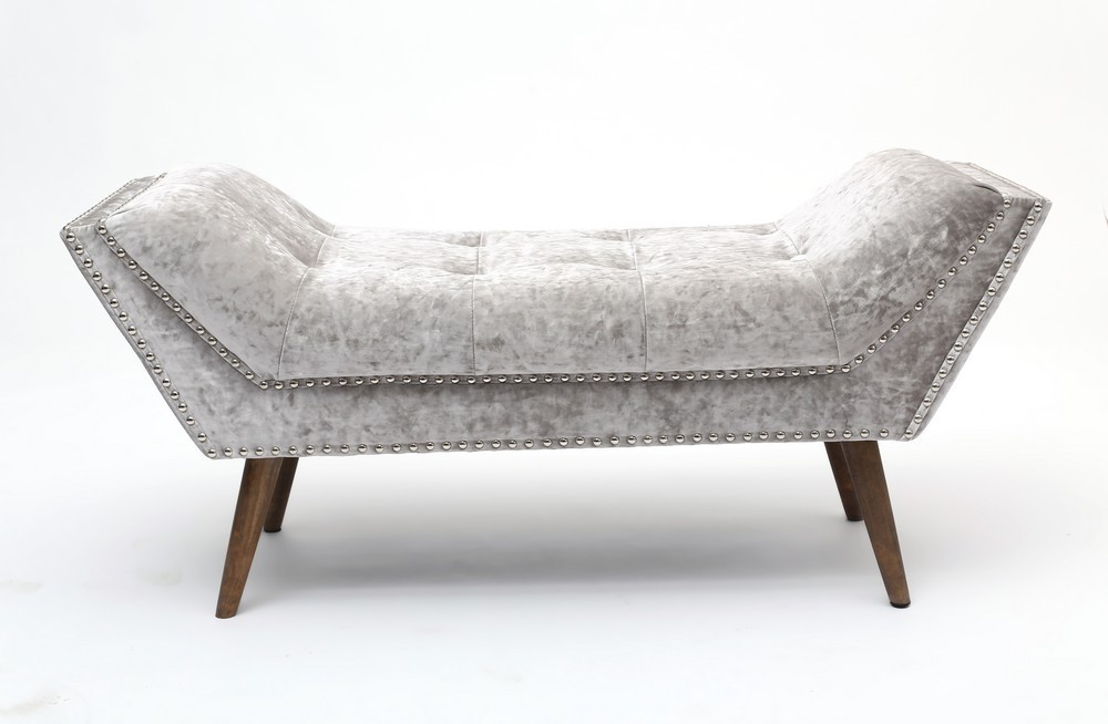 Mulberry Crushed Silver Velvet Chaise Shanker Mulberry