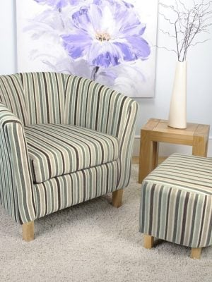 Derby Grey & Brown Stripe Fabric Tub Chair and Stool
