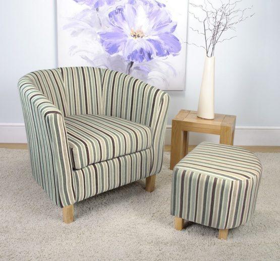 blue stripe fabric tub chair