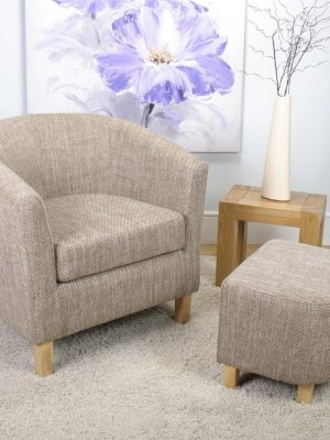 Derby Tweed Fabric Tub Chair and Stool