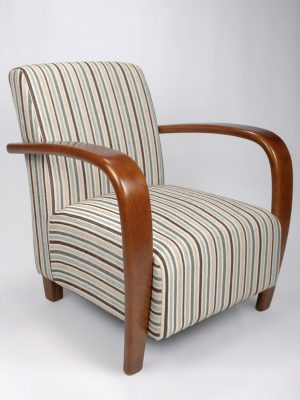 Restmore Grey & Brown Stripe And Walnut Armchair