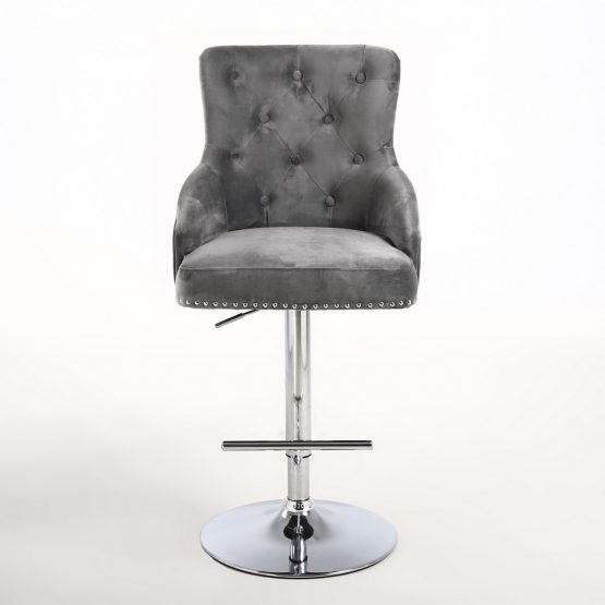 Rocco Grey Brushed Velvet Buttoned Back Bar Stool
