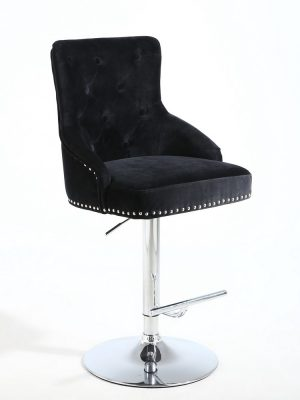 Rocco Black Brushed Velvet Buttoned Back Bar Stool