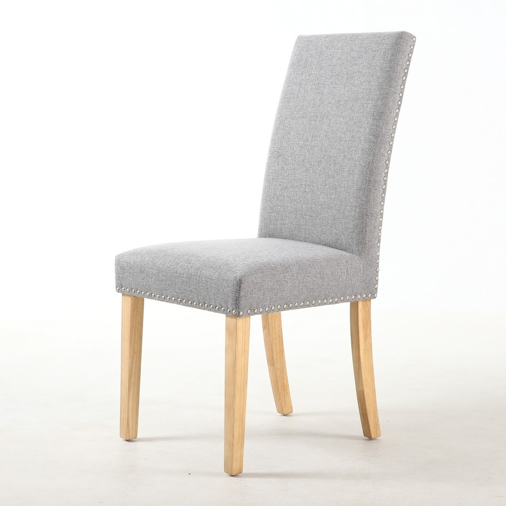 Bella Silver Grey Linen Fabric Dining Chair 6 Leg