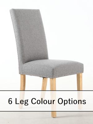 Bella Silver Grey Linen Fabric Dining Chair