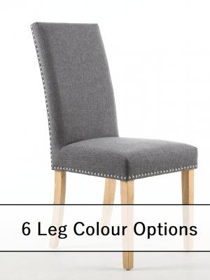 Bella Steel Grey Linen Fabric Dining Chair