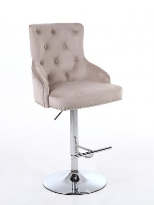 Rocco Mink Brushed Velvet Buttoned Back Bar Stool
