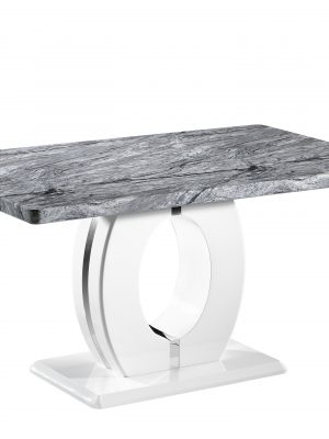 Athena Marble Effect And White High Gloss Modern Dining Table