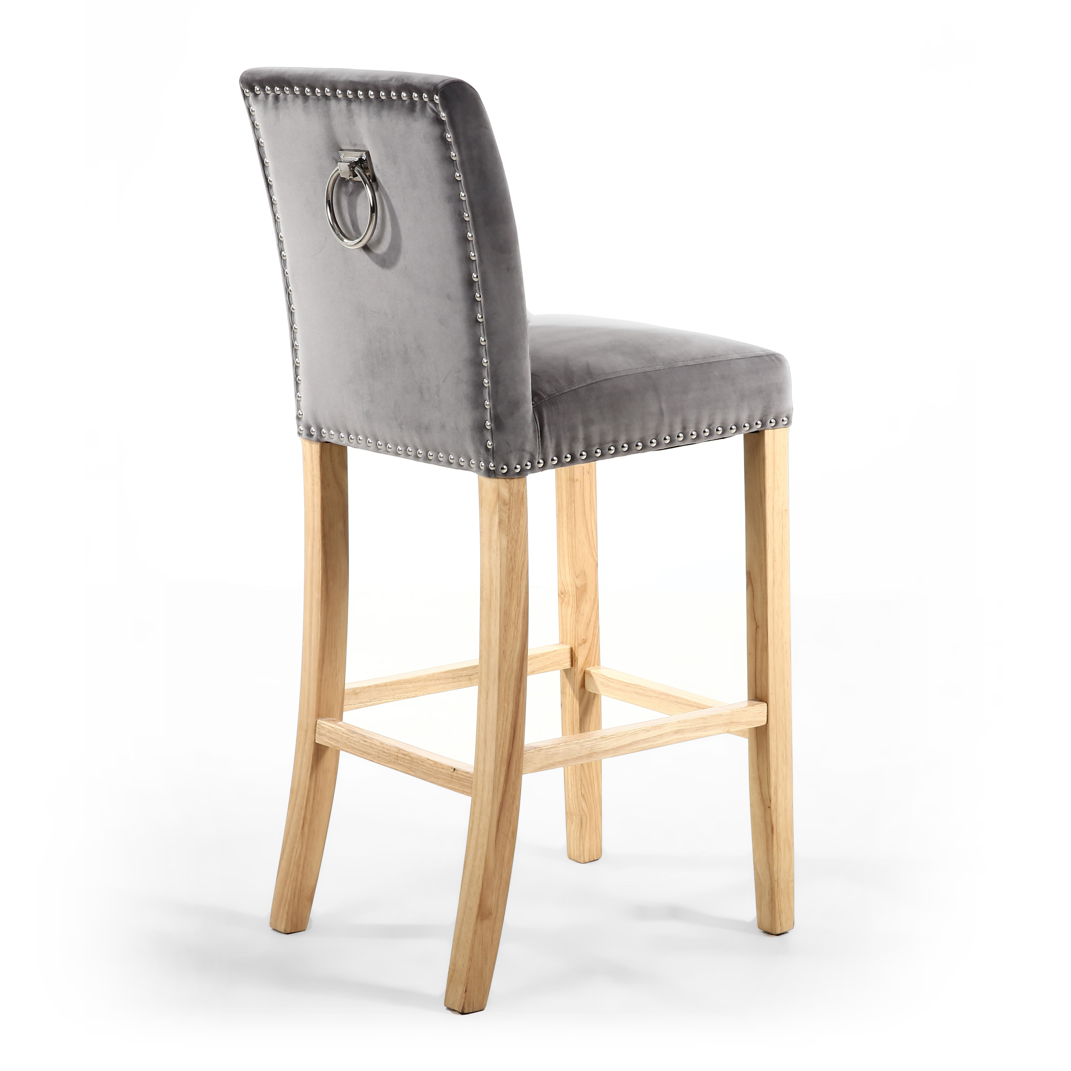 Rocco Brushed Grey Velvet Amp Oak Bar Stool With Pull Handle
