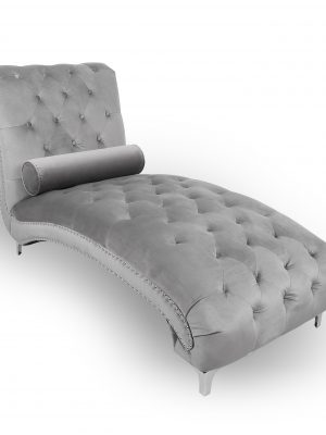 Clifton Grey Brushed Velvet Buttoned Chaise