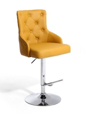 Rocco Yellow Leather Buttoned Back Bar Stool