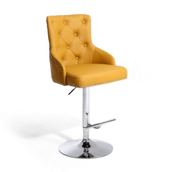 Rocco Yellow Leather Bar Stool