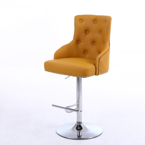 Rocco Yellow Faux Leather Bar Stool from Shankar