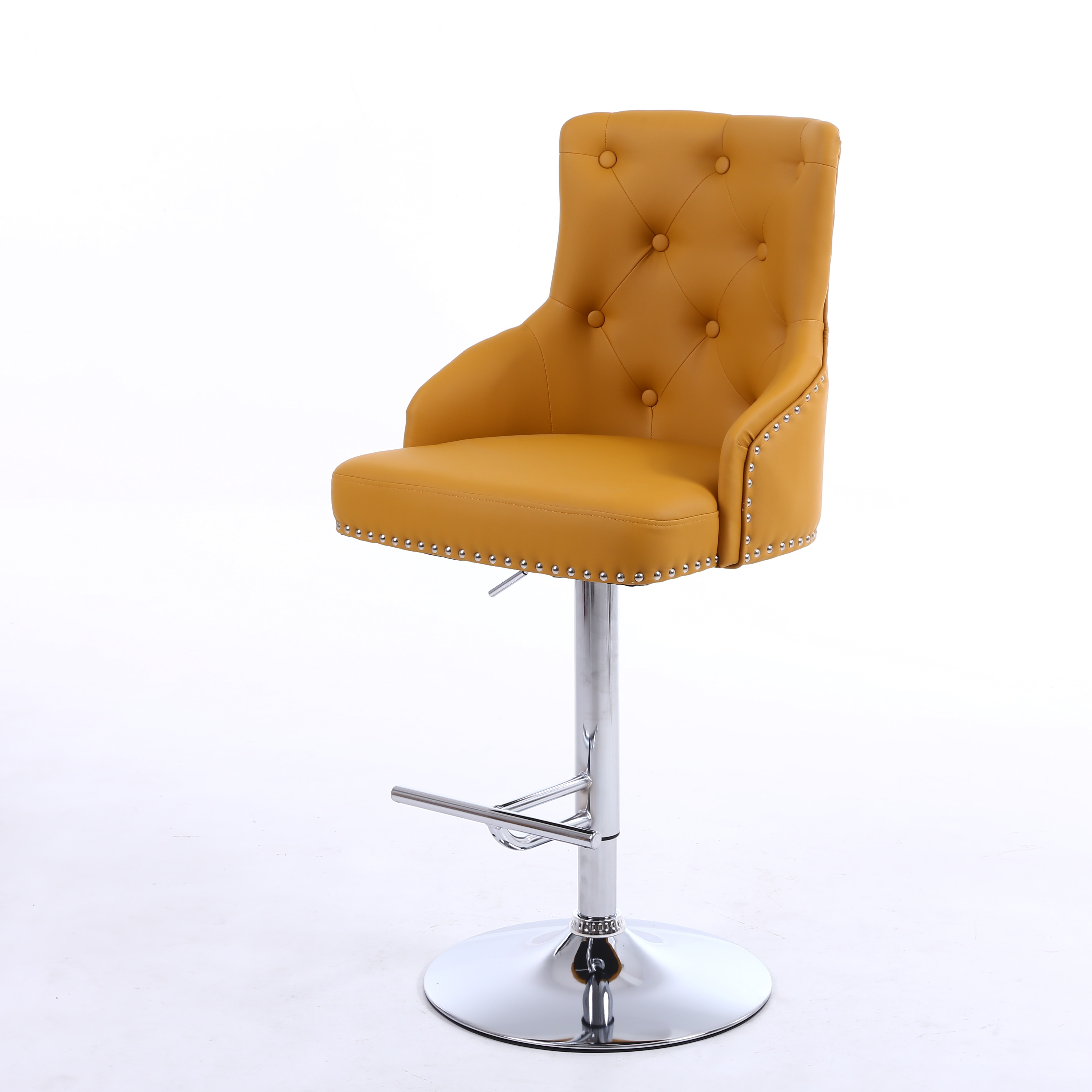Awe Inspiring Rocco Yellow Leather Buttoned Back Bar Stool Gmtry Best Dining Table And Chair Ideas Images Gmtryco