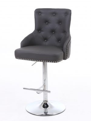 Rocco Grey Leather Buttoned Back Bar Stool
