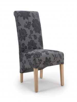 Krista Antique Grey Floral Fabric Dining Chairs