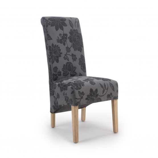 Krista Antique Grey Floral Fabric dining chair