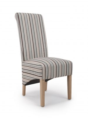 Krista Grey & Brown Stripe Fabric Dining Chair