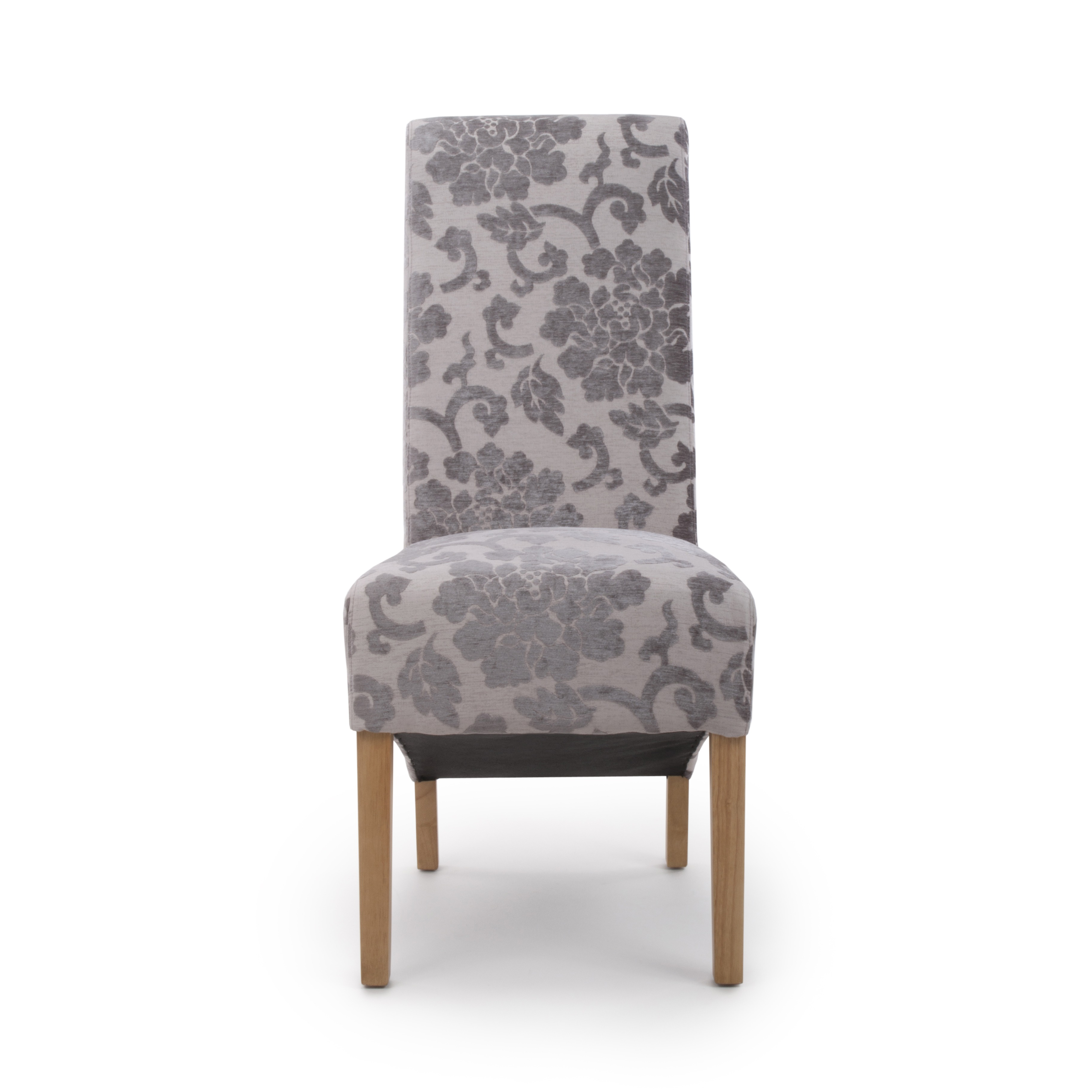 Krista Baroque Mink Floral Velvet Fabric Dining Chairs