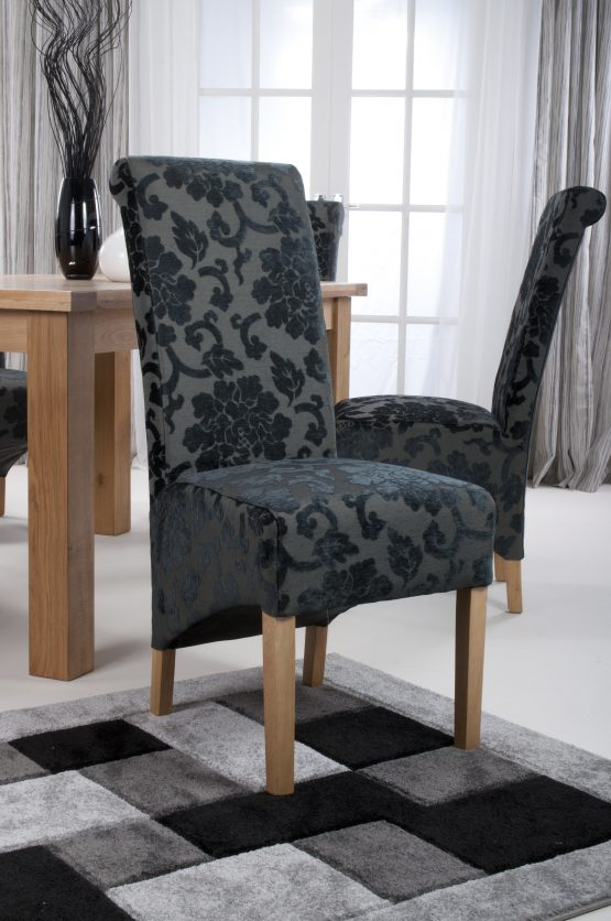 Krista Baroque Charcoal Floral Velvet Fabric Dining Chairs