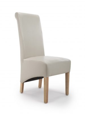 Krista Ivory Cream Leather Dining Chairs