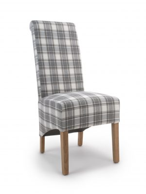 Krista Herringbone Grey & Cappuccino Tartan Fabric Dining Chair