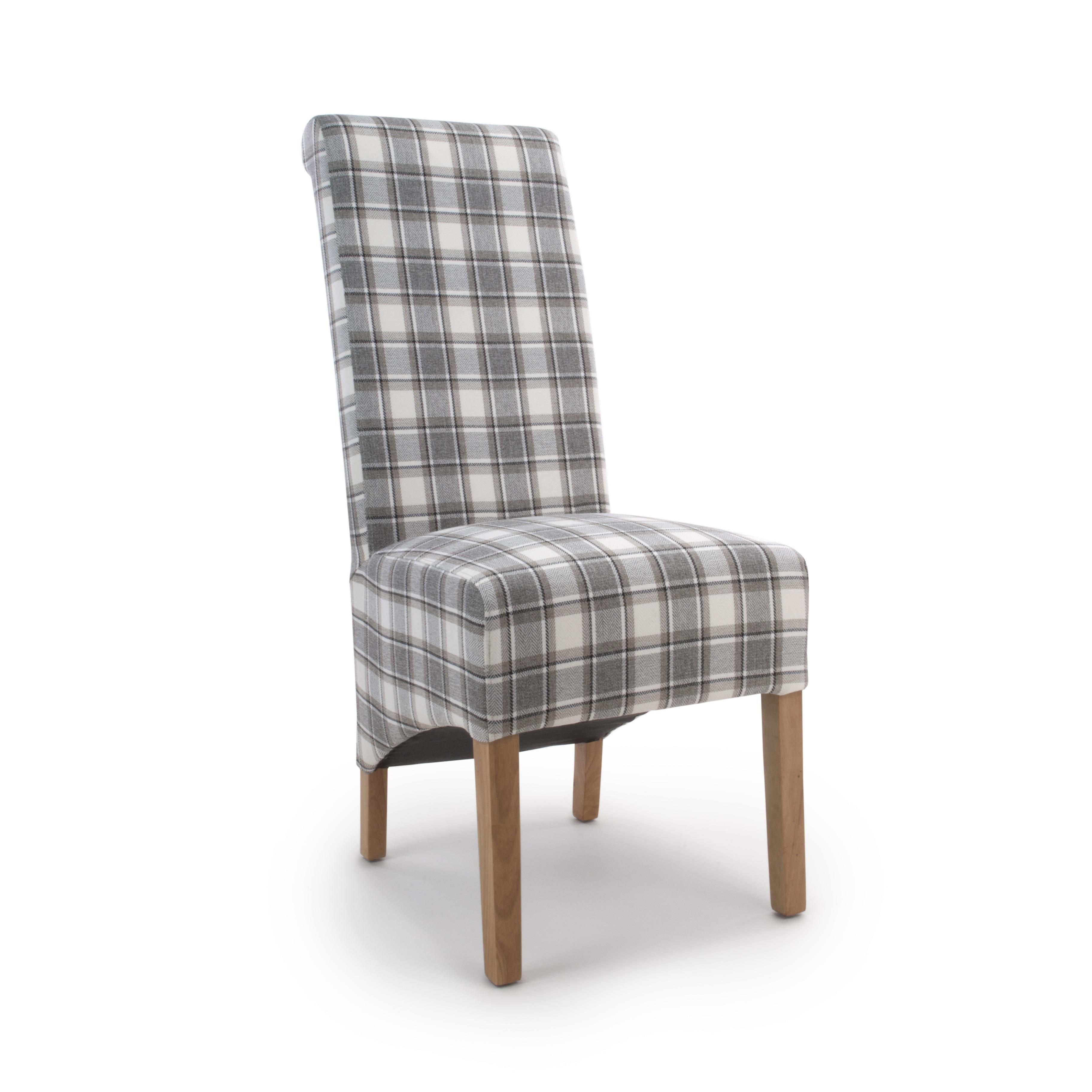 Krista Herringbone cappuccino check dining chair
