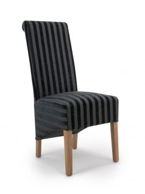 Krista Charcoal Grey Velvet Stripe Fabric Dining Chairs