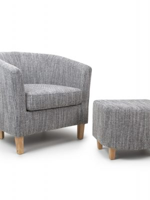 Derby Grey Tweed Fabric Tub Chair and Stool