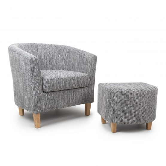 Derby Grey Tweed Tub chair and Stool