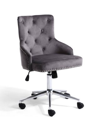 Brent Grey Brushed Velvet Office Chair