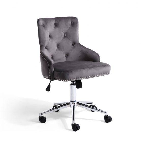Brent Grey Velvet Office chair