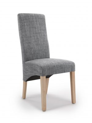 Buxton Grey Tweed Fabric Dining Chair