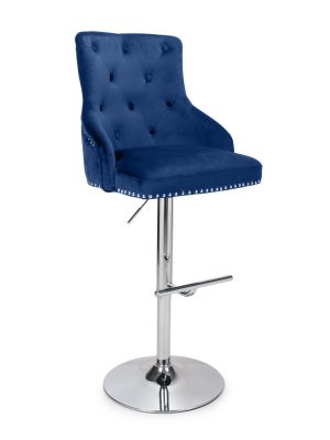 Rocco Blue Brushed Velvet Buttoned Back Bar Stool