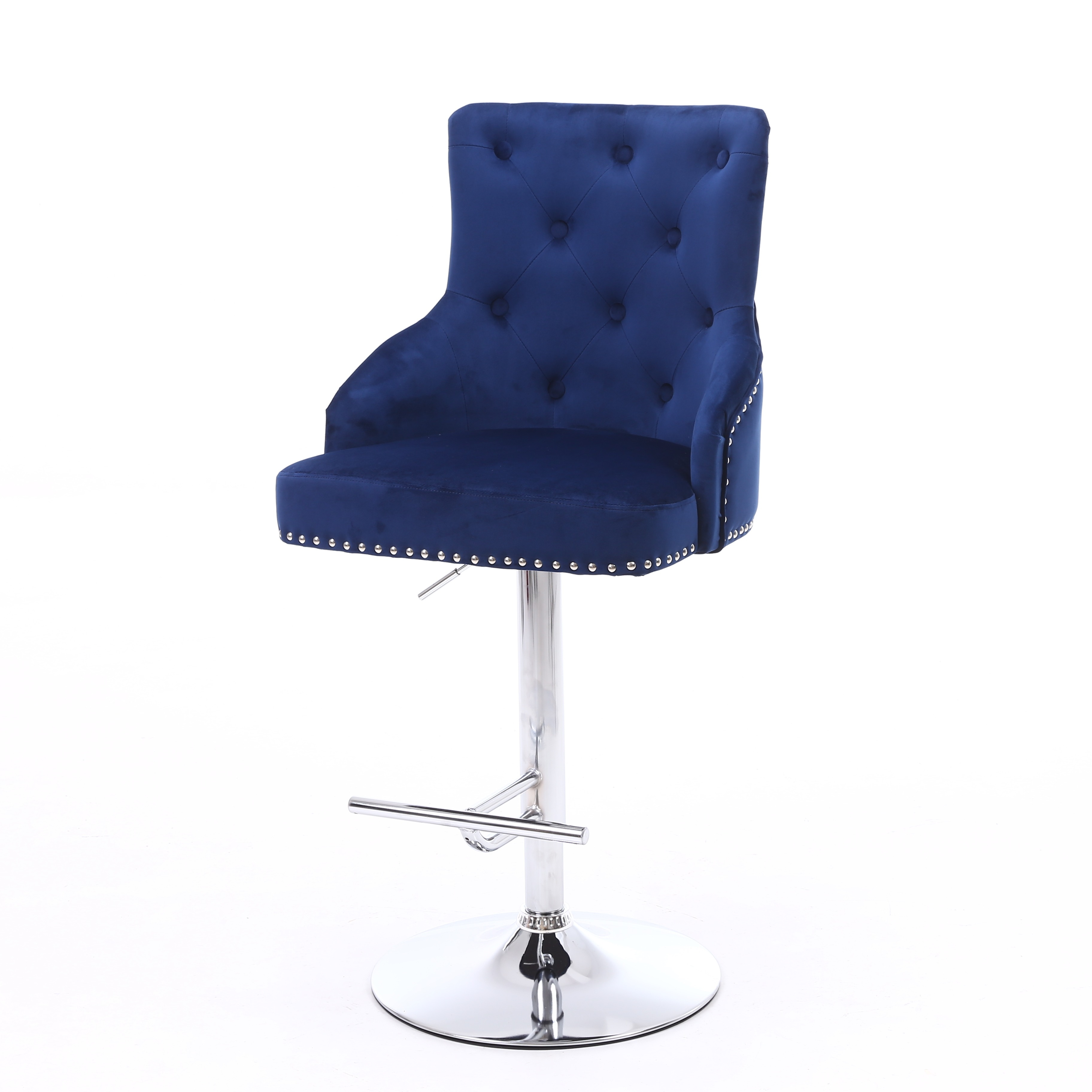 the latest a41ce d7ecb Rocco Blue Brushed Velvet Buttoned Back Bar Stool