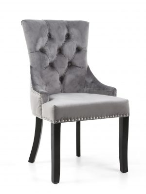 Chester Grey Brushed Velvet Fabric Dining Chair - Black Legs