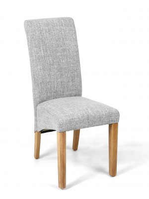 Alexa Grey Weave Linen Scroll Back Fabric Dining Chair