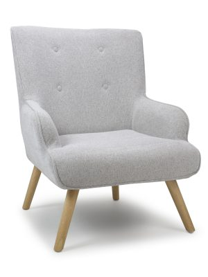 Edwin Silver Grey Linen Lounge Arm Chair