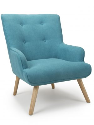 Edwin Turquoise Linen Lounge Arm Chair