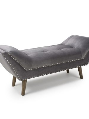 Mulberry Grey Brushed Velvet Medium Chaise Longue