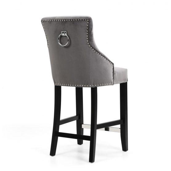 Rocco grey brushed velvet ring back bar stool