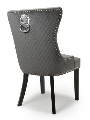 Lion head Grey Velvet Dining Chair - Black Legs