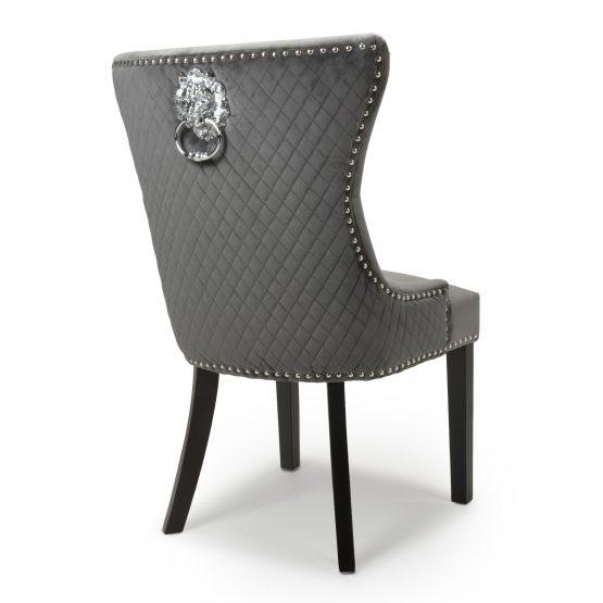 Lion Head Grey Velvet Dining chair with Black legs