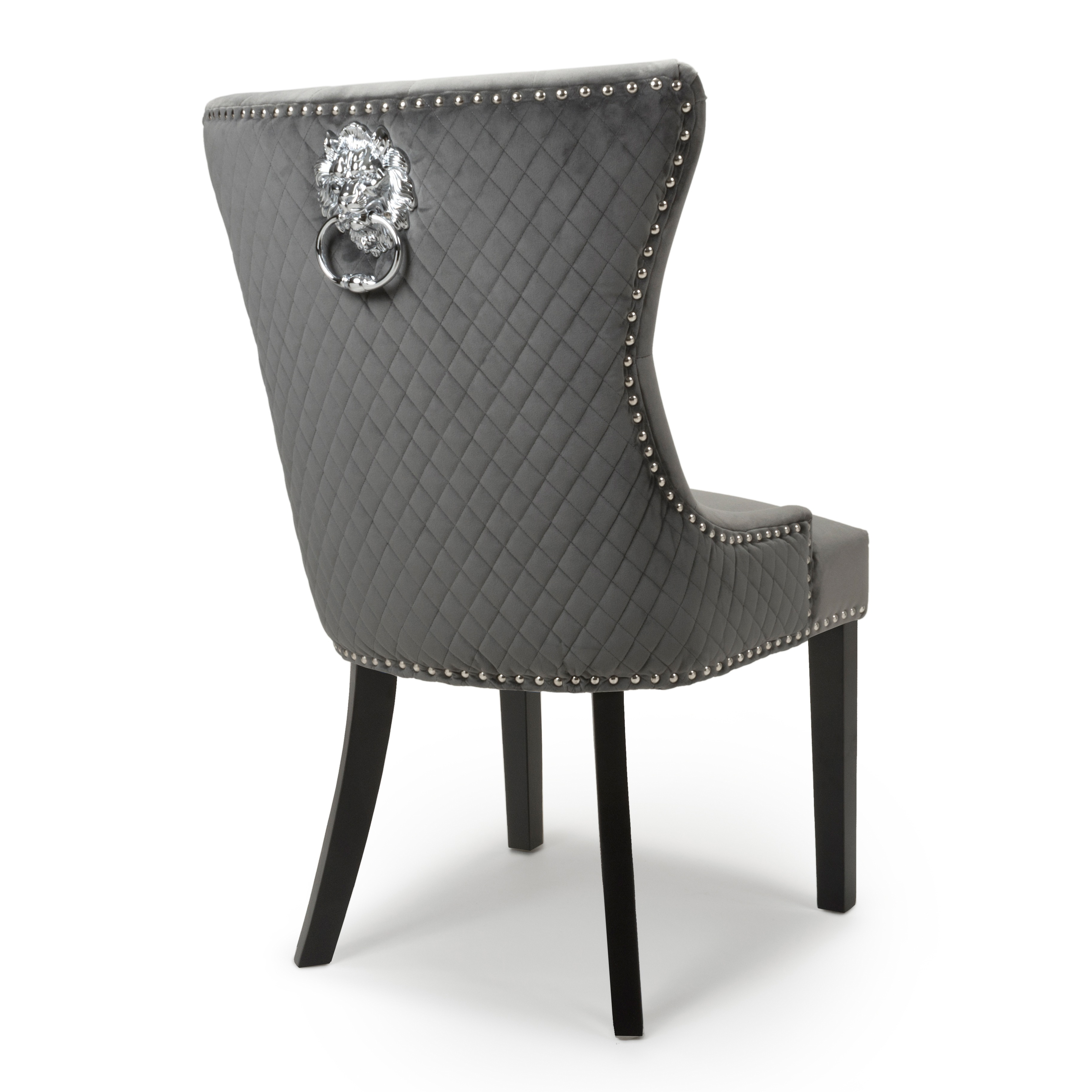 Peachy Lion Head Grey Velvet Dining Chair Black Legs Gamerscity Chair Design For Home Gamerscityorg