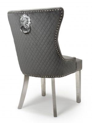 Lion head Grey Velvet Dining Chair - Stainless Steel Legs